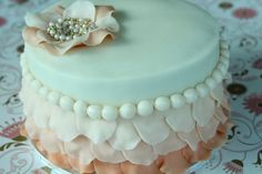 Vintage pearl and ruffle cake