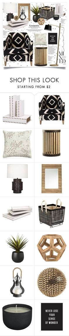 """""""Studded & Geometric Decor"""" by hmb213 ❤ liked on Polyvore featuring interior, interiors, interior design, home, home decor, interior decorating, IMAX Corporation, Donna Karan, Zentique and Robert Abbey"""