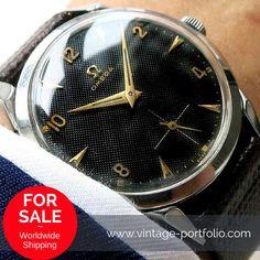 Serviced Original Omega clock with black honeycomb dial cal. 266. #Omega #Vintage #luxury