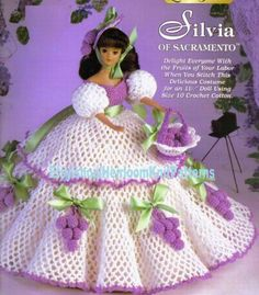 Doll Crochet Pattern - Southern Belle Dress Pattern - Barbie Doll Dress Silvia of Sacramento - Ladies of Fashion - Needlecraft Shop 972519 Crochet Doll Dress, Crochet Barbie Clothes, Crochet Doll Pattern, Knitted Dolls, Crochet Patterns, Crochet Hats, Gown Pattern, Doll Dress Patterns, Barbie Patterns