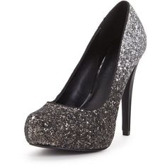 Shoe Box North Platform Graduated Glitter Court ($21) ❤ liked on Polyvore featuring shoes, pumps, black and silver pumps, sparkly shoes, glitter platform pumps, platform pumps and party shoes #promheelssilver