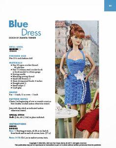 Barbie Crochê Miniaturas Artesanato e Coisas Mais: Vestido de Crochê Para Barbie - Blue Dress