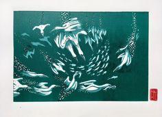 Gannet Feast - seabirds hunting in the North Sea by HuPaLinocuts on Etsy Bokashi, Beneath The Sea, North Sea, Sea Birds, Woodblock Print, Bookbinding, Hand Stamped, Moose Art, Hunting