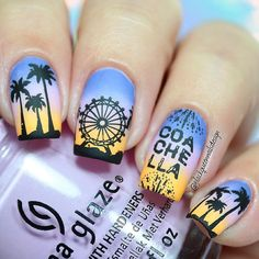 """Ana✨Nail Art-Tutorial-Swatches en Instagram: """"Hi loves!! . Today make a mani inspired in Coachella Festival I can't wait to try new festival collection from @bundlemonster for make design I search images in Google and this is the result! I use following . BM-S303 Festival collection from @bundlemonster #bundlemonster . Clear Jelly stamper @clearjellystamper . For the gradient: Glorious @formulaxnail ✨ Sweet Hook and Metro Polen Tin @chinaglazeofficial"""