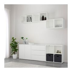 EKET Cabinet combination with feet IKEA Hide or display your things by combining open and closed storage. At Home Furniture Store, Modern Home Furniture, New Furniture, Cabinet Furniture, Buffet Bas Ikea, Ikea Hallway, Hallway Ideas, Ikea Eket, Rack Tv