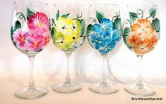 117 Best Painted Glass Flowers Images Hand Painted Wine Glasses