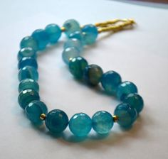 Chunky Blue Agate Necklace by SeaSaltShop on Etsy, $25.00