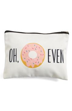 Perfect for storing beauty essentials, this sweet bag features delicious sprinkled donut graphics and a clever catchphrase.