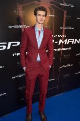 Andrew Garfield wears a burgundy Balenciaga suit