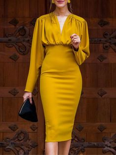 Ruched Design Long Sleeve Midi Dress trendiest dresses for any occasions, including wedding gowns, special event dresses, accessories and women clothing. Dress Outfits, Fashion Dresses, Dress Up, Bodycon Dress, Prom Dress, Dresses Dresses, Homecoming Dresses, Sheath Dresses, Blazer Dress