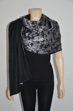 Shanghai Tang Shanghai Tang 100% Silk Gray/Black Floral Women's Shawl/Wrap Size L On Sale df