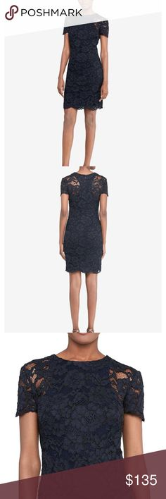 """NWOT Lauren Ralph Lauren Navy Lace Dress Lauren Ralph Lauren lace dress. Navy. Size 6. NWOT. This Lauren Ralph Lauren sheath dress layers intricate lace over a sportswear-inspired racerback for an eclectic-chic look for your next cocktail party. Lace fabrication. Sheath silhouette. Rounded neckline. Short sleeves with scalloped cuffs. Scalloped hemline. Racerback body lining. Concealed center-back zipper with a hook-and-eye closure. approx. 35.25"""" back length…"""