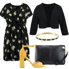 Outfit+ideale+per+una+cerimonia+o+serata+elegante+composto+da+vestito+con+fantasia+floreale+e+scollo+incrociato+da+abbinare+ad+un+blazer+con+maniche+a+3/4.+Completano+il+look+sandali+mustard,+pochette+nera+e+bracciale+in+metallo+e+pietre.