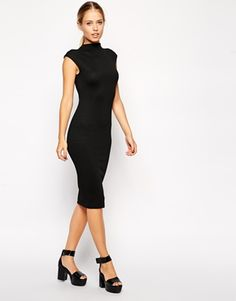 ASOS Midi Body-Conscious Dress with High Neck in Texture