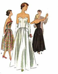 """Vintage 1950s Sewing Pattern Fitted Bodice Strapless Evening Wedding Dress B 28"""""""