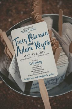 Blue and white wedding ceremony programs + fans {Lightbloom Photography}