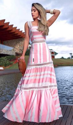 Dress Outfits, Casual Dresses, Fashion Dresses, Summer Dresses, Summer Maxi, Lovely Dresses, Vintage Dresses, Striped Maxi Dresses, Indian Designer Wear