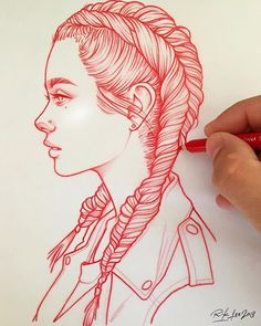 New illustrations, sketches and original art work by Rik Lee — Rik Lee How To Draw Braids, How To Draw Hair, Pencil Art, Pencil Drawings, Red Pencil, Rik Lee, Drawing Techniques, Easy Drawings, Pretty Drawings