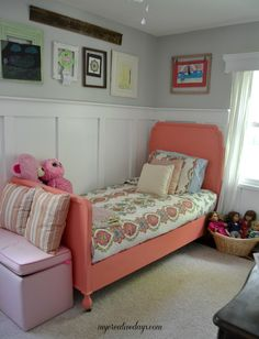 """Here is an idea for a bed makeover in a girls room. A painted bed in a coral color called """"Exotic"""" from Velvet Finishes. Bed Makeover from mycreativedays.com."""
