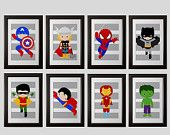 Superhero wall PRINTS shipped: set 8, spiderman, ironman, superman, batman, and more, superhero nursery, 8x10 PRINTS, children superhero