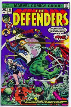 The Defenders # 29 , November 1975 , Marvel Comics Vol 1 1972 On the cover : Defenders ; the Hulk [ Bruce Banner ] ; the Badoon Marvel Comics, Hq Marvel, Marvel Comic Books, Marvel Heroes, Marvel Characters, Comic Books Art, Comic Art, Book Art, Dc Universe
