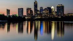 Downtown Austin's skyline as seen from  Lady Bird Lake in August 2014