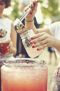 Wedding Cocktails in Mason Jars   Vintage Tea Roses http://vintagetearoses.com/peaches-cream-wedding-inspiration