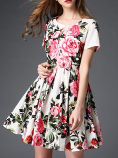 Buy it now. White Crew Neck Floral A-Line Dress. White Round Neck Short Sleeve Polyester A Line Short Floral Fabric has no stretch Summer Casual Day Dresses. , vestidoinformal, casual, camiseta, playeros, informales, túnica, estilocamiseta, camisola, vestidodealgodón, vestidosdealgodón, verano, informal, playa, playero, capa, capas, vestidobabydoll, camisole, túnica, shift, pleat, pleated, drape, t-shape, daisy, foldedshoulder, summer, loosefit, tunictop, swing, day, offtheshoulder, smock...