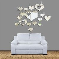 Mama   Lovely 16PCS Silver Mirror Hearts Decoration Home Room Art 3D DIY Wall Stickers