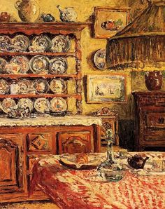 The Dining Room After Lunch.  Maxime Maufra (1861-1918) French Impressionist Painter