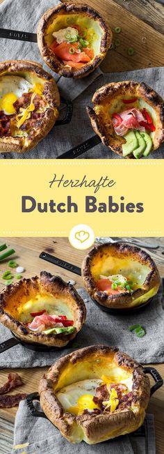 Aus Baby mach Baby-chen: Diese drei kleinen Dutch Babies werden herzhaft gefüllt: Mit Räucherlachs, Bacon und Ei, Avocado und Seranoschinken.