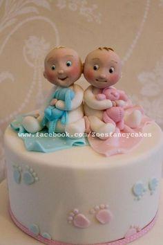 Baby twin cake by Zoe's Fancy Cakes