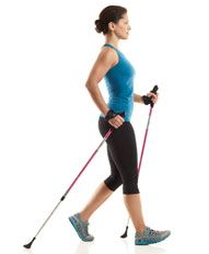 Walking Workouts with Nordic Walking Poles - Prevention.com - Burns 50% more calories than walking without the poles, greater stability, less stress on joints! That is true - I really love it!!!!
