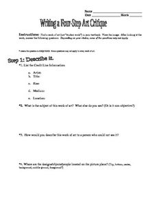 Writing a 4 Step Art Critique/Criticism Paper for high school art students High School Art Projects, Art School, Art Classroom Layout, Classroom Organization, Classroom Ideas, Art Syllabus, Art Sub Lessons, Art Assignments, Sketchbook Assignments