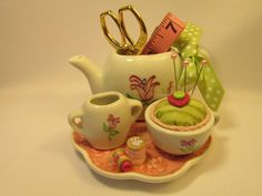 Pink and Green Pin Cushion Set Home Decor by HelenAnnOriginals