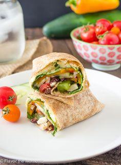 Greek Veggie Hummus Wrap | flavorthemoments.com