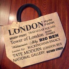 London Burlap Travel Tote ❤️ London Burlap Travel Tote ....dimensions soon. Bags Totes