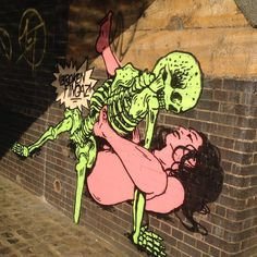 3 of 3 from this series  2014 Broken Fingaz Crew  Hackney Wick London @unga_bfc @tant_bfc @ghostown04 #london  #streetart #streetartlondon #bfc #brokenfingaz #art #hackney #girl by londongraffiti