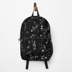 """Grey and Black Music Notes Pattern"" Backpack by HavenDesign 