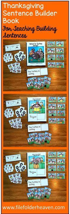 "This Thanksgiving Sentence Builder Book, ""What Is Turkey Doing?"" focuses on identifying action words, building sentences, and sentence comprehension. In a small group, the teacher or therapist reads the story as students follow along and match the correct action to each page. Sample Text: ""What is Turkey doing? What can it be? He's.... __________ (eating pumpkin pie) as we can plainly see"""