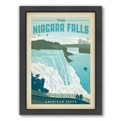 Niagra Falls Framed Vintage Advertisement - i love these old travel posters!!