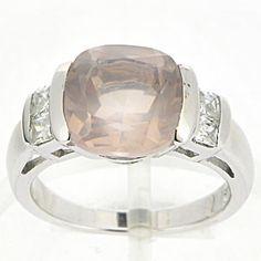 silver rose quartz ring