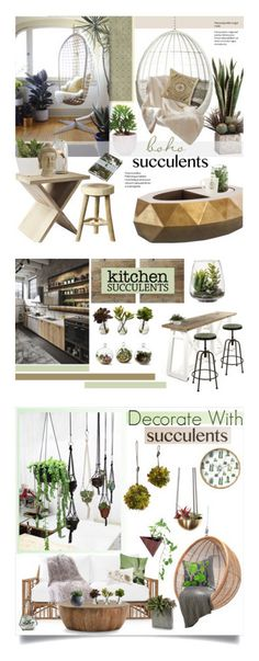 """""""Winners for Decorate With Succulents"""" by polyvore ❤ liked on Polyvore featuring interior, interiors, interior design, home, home decor, interior decorating, Lux-Art Silks, Serena & Lily, CB2 and Madison Park"""