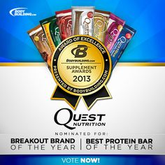 One more day left to #VoteQuest for the Bodybuilding.com Supplement Awards! Click and cast your vote!