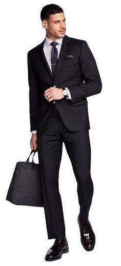 d91cd327dc2b The perfect Men s Custom Suit in Hemsworth Black fabric
