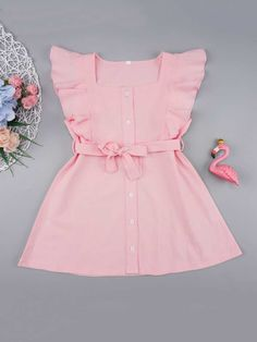 Product name: Toddler Girls Button Front Ruffle Trim Belted Dress at SHEIN, Category: Toddler Girl Dresses Frocks For Girls, Little Girl Outfits, Toddler Girl Dresses, Little Girl Fashion, Girls Dresses, Toddler Girls, Child Dress Boy, Fashion Kids, Toddler Fashion