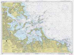 Vintage 1979 Nautical Chart of Boston Harbor
