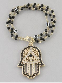 Black Hamsa & Evil Eye Crystal Bead Bracelet from P.S. I Love You More Boutique. www.psiloveyoumoreboutique.com