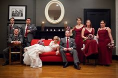red and gray wedding party