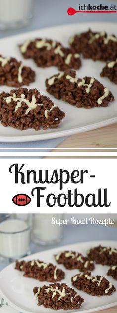 Diese süßen Knusper-Footbälle zaubert ihr mit nur 3 Zutaten! Das perfekte schnelle Rezept für den Super Bowl! Football Super Bowl, Snacks Für Party, Low Carb, Breakfast, Food, 3 Ingredients, Schokolade, Quick Recipes, Food Food
